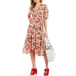 Antonio Melani red floral wrap dress liberty 10
